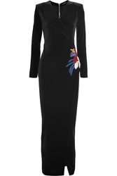 Balmain Bead Embellished Wrap Effect Velvet Gown Black