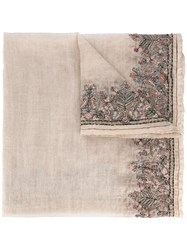 Faliero Sarti Floral Embroidered Scarf Nude Neutrals