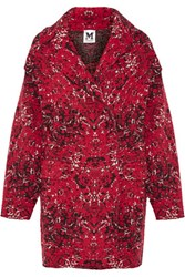 M Missoni Oversized Jacquard Knit Wool Blend Coat Claret
