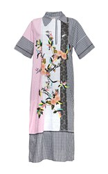 Antonio Marras Mixed Gingham Print Midi Length Shirt Dress Black White Pink