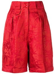 Etro Palm Leaves Printed Shorts Red