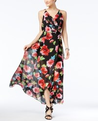 Xoxo Juniors' Floral Print Lace Up Back Maxi Dress Multi