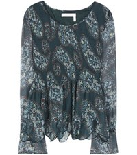 See By Chloe Printed Plisse Blouse Blue