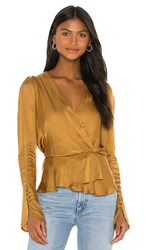 Young Fabulous And Broke Avery Top In Mustard Olive. Olive Bark