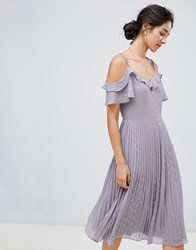 Oasis Spot Pleated Midi Dress With Cold Shoulder In Lilac Grey