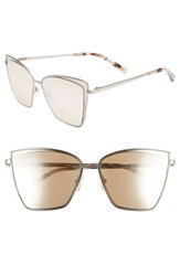 Diff Becky 57Mm Sunglasses Brushed Silver Taupe Brushed Silver Taupe