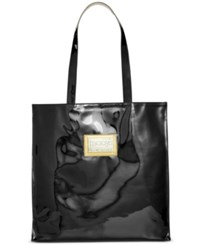 Macy's Large Patent Tote With Plaque Black