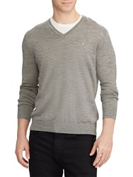 Ralph Lauren Polo V Neckline Knit Jumper Metallic Grey Heather