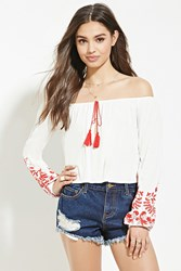 Forever 21 Embroidery Off The Shoulder Top Cream Red