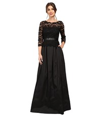 Adrianna Papell Lace And Taffeta Ball Gown Black Women's Dress