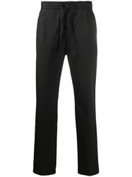 Closed Drawstring Waist Straight Leg Trousers Black
