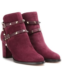 Valentino Rockstud Suede Ankle Boots Purple