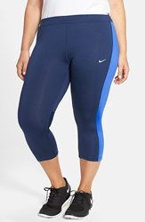 Nike Plus Size Women's 'Essential' Dri Fit Capris Obsidian Blue Reflect Silver