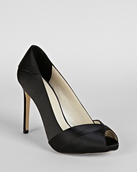 Karen Millen Peep Toe Platform Pumps Pleated Satin Collection High Heel