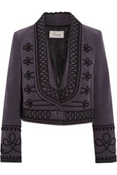 Temperley London Voyage Embroidered Cotton Corduroy Jacket Grape