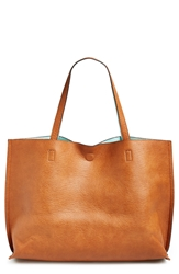 Street Level Reversible Vegan Leather Tote And Wristlet Cognac Aqua