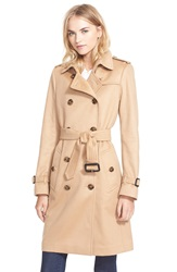 Burberry London 'Kensington' Double Breasted Cashmere Trench Coat Camel