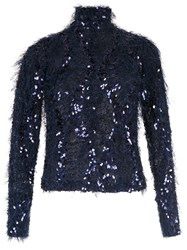 Gloria Coelho Fuzzy Embroidered Sweater Blue