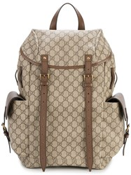Gucci Gg Supreme Backpack Men Cotton Leather One Size Brown