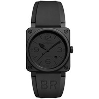 Bell And Ross Br0392 Phantom Ce Men's Aviation Ceramic Automatic Rubber Strap Watch Black