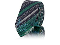 Thom Browne Men's Striped And Floral Jacquard Necktie Green
