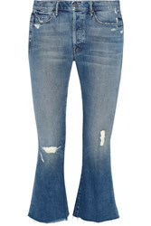 Mother The Nomad Cropped Distressed Mid Rise Flared Jeans Mid Denim