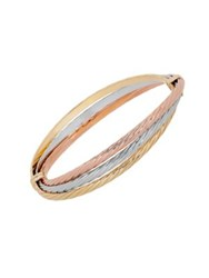 Lord And Taylor 14K Yellow Gold White Gold Rose Gold Bangle Bracelet Two Tone
