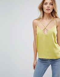 Asos Deep Plunge Strap Detail Cami In Crepe Chartreuse Green