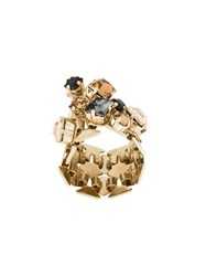 Lanvin Crystal Embellished Ring Metallic
