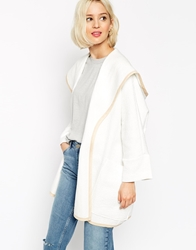 Asos Blanket Cape With Hood In Texture Cream