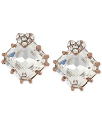 Betsey Johnson Rose Gold Tone Heart And Square Crystal Stud Earrings