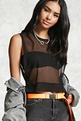 Forever 21 Cropped Mesh Tank Top Black
