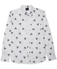 Jem Men's Mickey Mouse Long Sleeve Shirt White