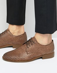 New Look Derby Shoes With Woven Detail In Brown Brown