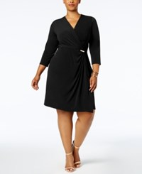Charter Club Plus Size Faux Wrap Dress Created For Macy's Deep Black