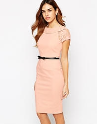 Paper Dolls Belted Pencil Dress With Bardot Neck And Lace Sleeve Nude