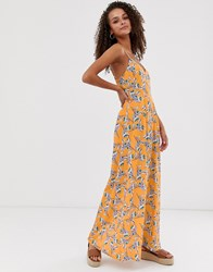 Parisian Printed Maxi Dress Yellow