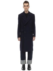 Massimo Piombo Double Breasted Wool Coat Blue