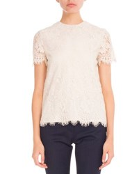 Victoria Beckham Lace Short Sleeve Round Neck Top Off White