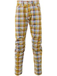 G Star Raw Madras Check Trousers Yellow Orange