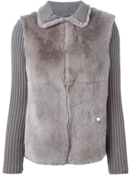 Eleventy Rabbit Fur Panel Cardigan Grey