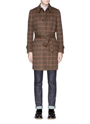 Tomorrowland Glen Plaid Wool Cashmere Coat Brown