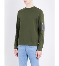 Sandro Patch Pocket Cotton Sweatshirt Olive Green