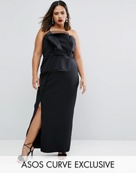Asos Curve Red Carpet Organza Bandeau Maxi Dress Black