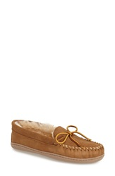 Minnetonka Sheepskin Hard Sole Moccasin Slipper Women Tan Suede