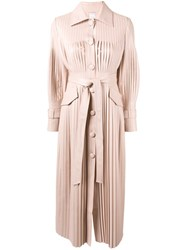 Huishan Zhang Rosie Pleated Midi Dress Pink