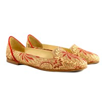 Bote A Mano Lilian Of Banaras Flat Shoes Red Gold Rose Gold