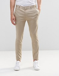 Asos Super Skinny Smart Trousers In Stone Cotton Sateen Stone Silver