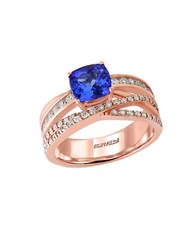Effy Tanzanite Royale Diamond And 14K Rose Gold Crisscross Ring 0.57Tcw Blue
