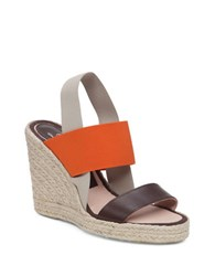 Delman Jamie Leather Espadrille Wedge Sandals Brown